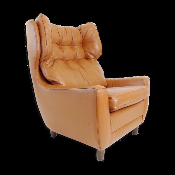 Fauteuil en cuir couleur cognac Carl Straub des années 1960
