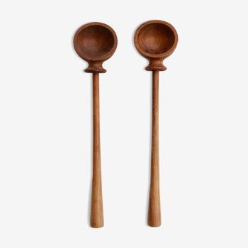 Set of salad spoons design vintage danish teak