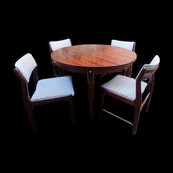 Ensemble table et 4 chaises danoises en palissandre de rio restaurées