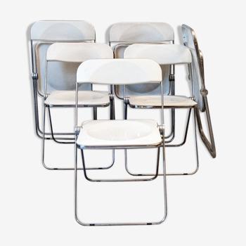 Six chaises Plia de Giancarlo Piretti pour Anonima Castelli Italia, 1967