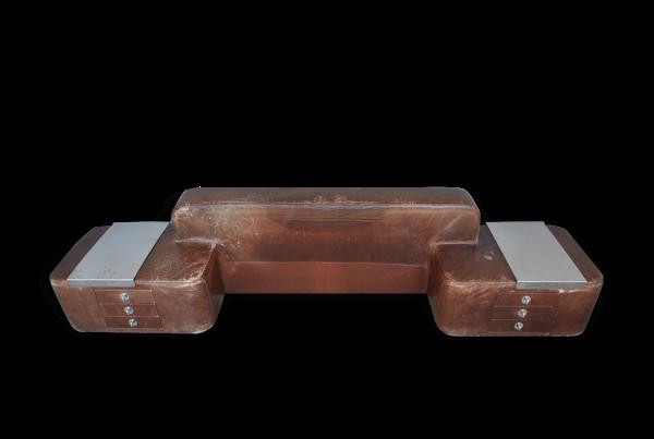 Tête de lit vintage 1970 en cuir avec chevets