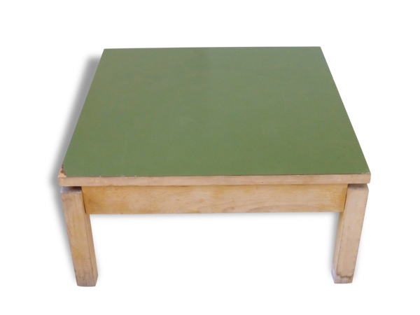 Table basse carrée en hêtre massif et formica kaki 1950 vintage rockabilly coffee table #2