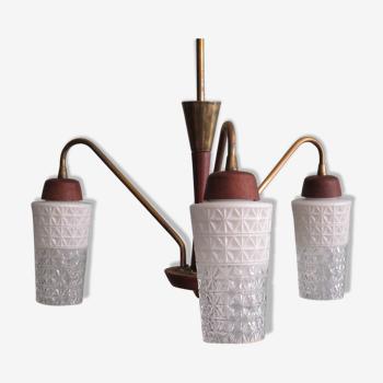 Lustre scandinave à 3 bras teck laiton et verre 1960