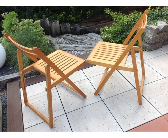 Paire de chaises pliantes style scandinave années 60/70