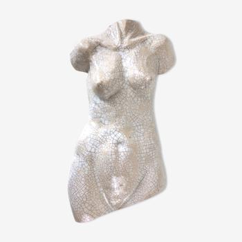 Buste femme en céramique craquelée Art deco