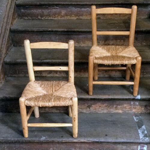 Deux chaises paillées enfant mid century