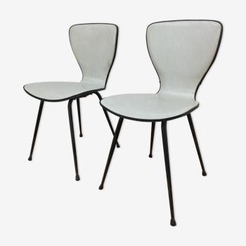 Paire de chaises années 50 skaï et métal