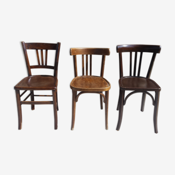 Lot de 3 chaises bistrot en bois