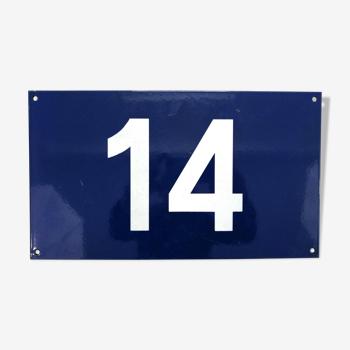 Plaque émaillée SNCF chiffre 14