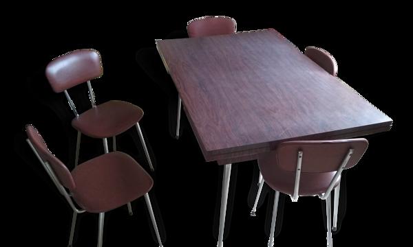 Ensemble années 70 table et chaises
