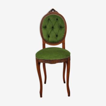 Chaise de chambre medaillon tissus vert