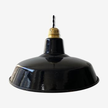 Ancienne suspension industrielle emaillee noire 30 cm