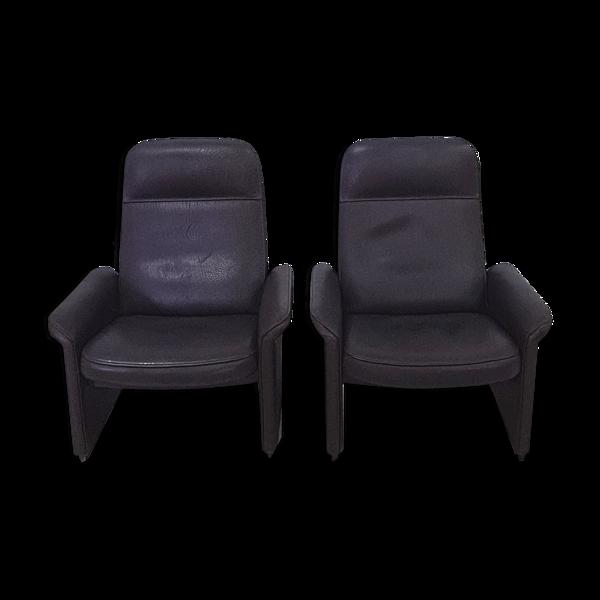 Ensemble de 2 fauteuils en cuir de buffle DS50 par DeSede, Suisse années 1980