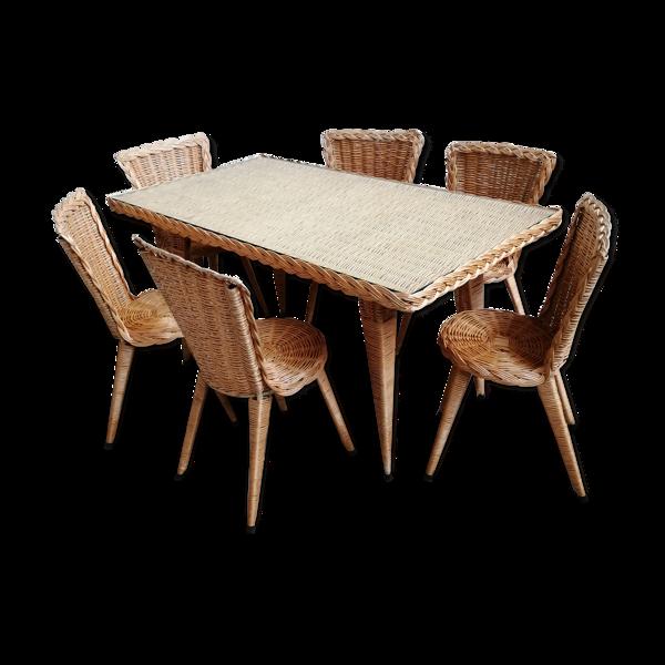 Selency Table à manger rotin et 6 chaises