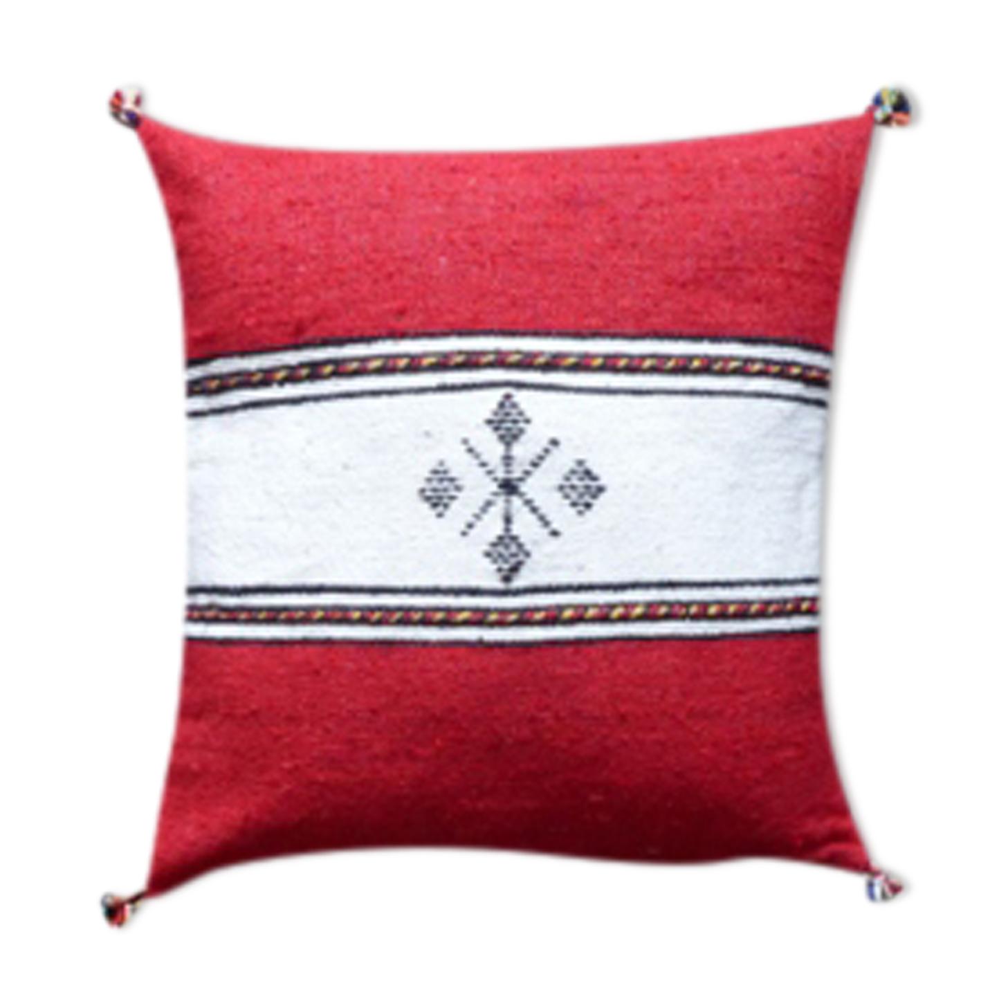 Coussin berbère marocain rouge et blanc