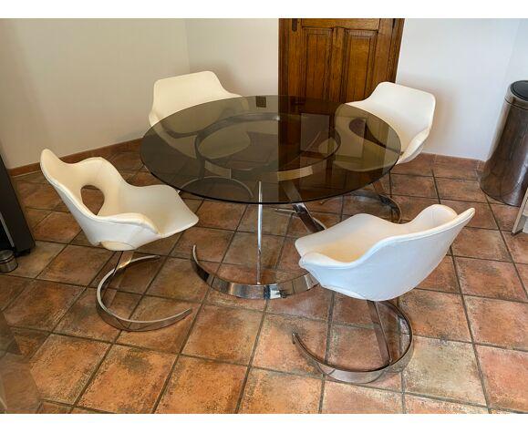Lot table et 4 chaises Boris Tabacoff pour MMM 1970