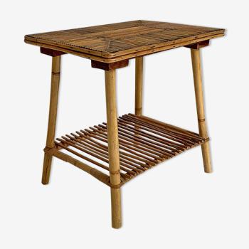 Table d'appoint bout de canapé en rotin vintage 1960