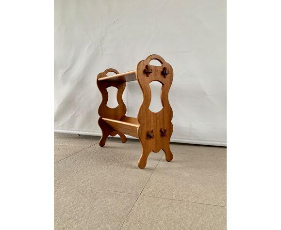 Table d'appoint en bois avec support de magazine