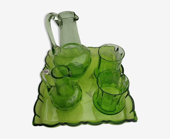 Service à liqueur ancien en verre gravé