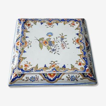 Dessous de plat carré en faïence émaillée décor Rouen