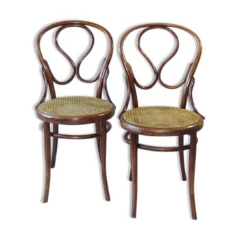 Paire de chaises Omega par Fiume Chevallier 1880 bistrot canné