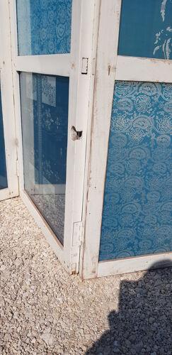 Ancien paravent avec panneaux de verre sérigraphiés