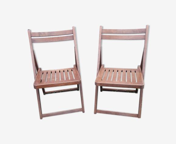 2 chaises pliantes bois