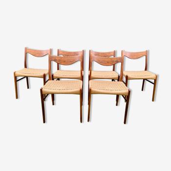 Suite de 6 chaises de Arne Wahl Iversen pour Glyngøre Stolefabrik années 60