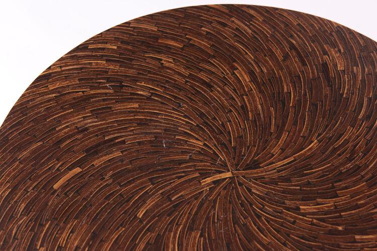 Table d'appoint de style art-déco en bois de palmier et piètement en acier