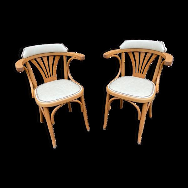 Paire de fauteuils bistrot bois courbé vintage