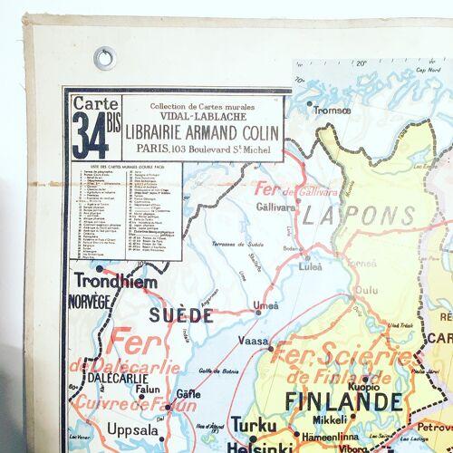 Ancienne carte scolaire Vidal Lablache 34 URSS