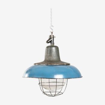 Lampe industrielle émaillée en bleu