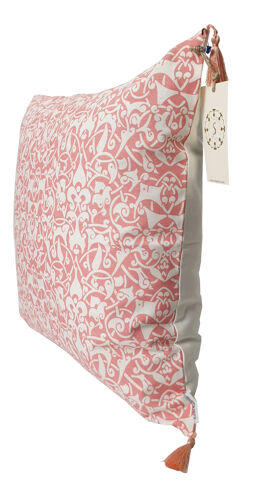 Housse de coussin etnik blanc / rose vif - 50 x 50