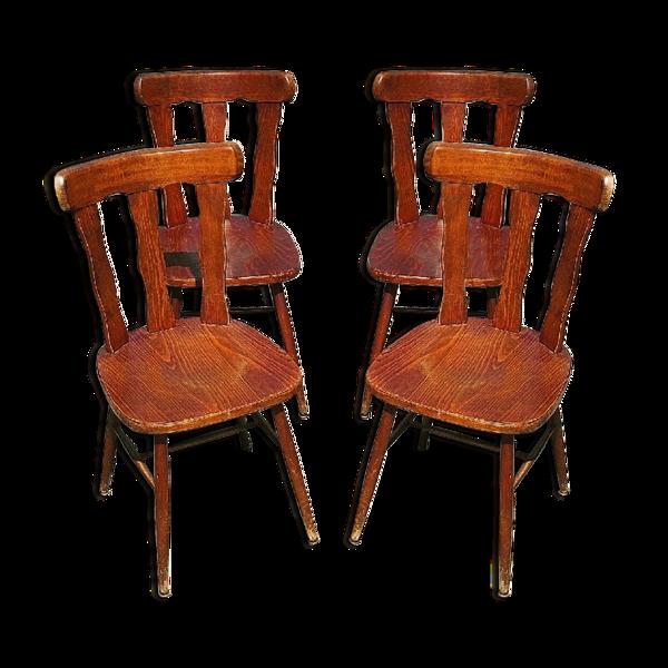 4 chaises bistrot bois vernis vintage 1960
