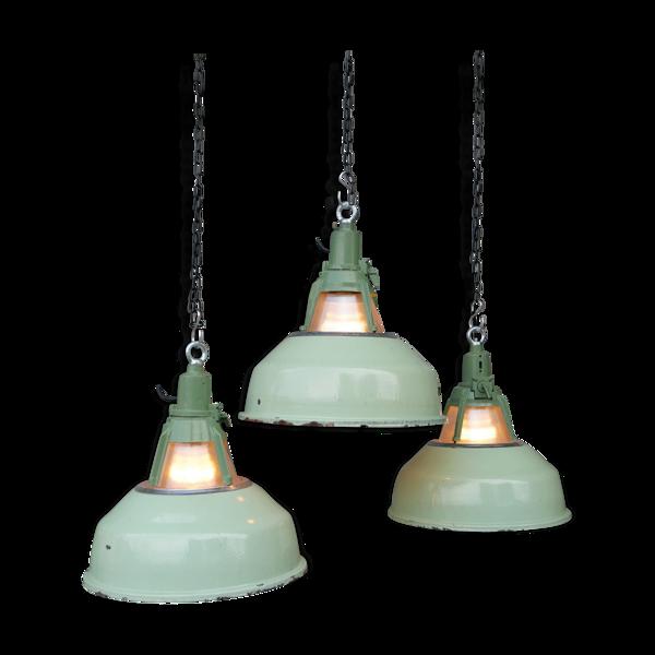 Lampe industrielle holophane à abat jour émaillé vert