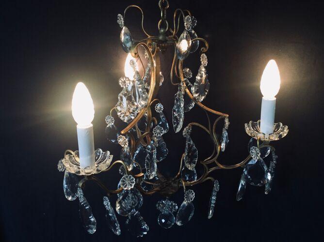 Lustre cage à 3 lumières en bronze et cristal
