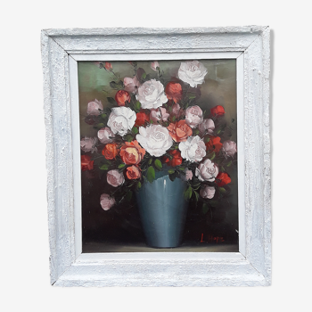 Huile sur toile encadrée et signée L. Hope Bouquet de roses  H 65 cm