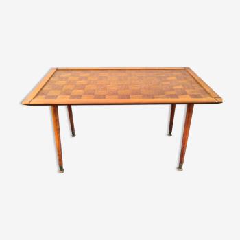 Table basse vintage design années 50 en marqueterie
