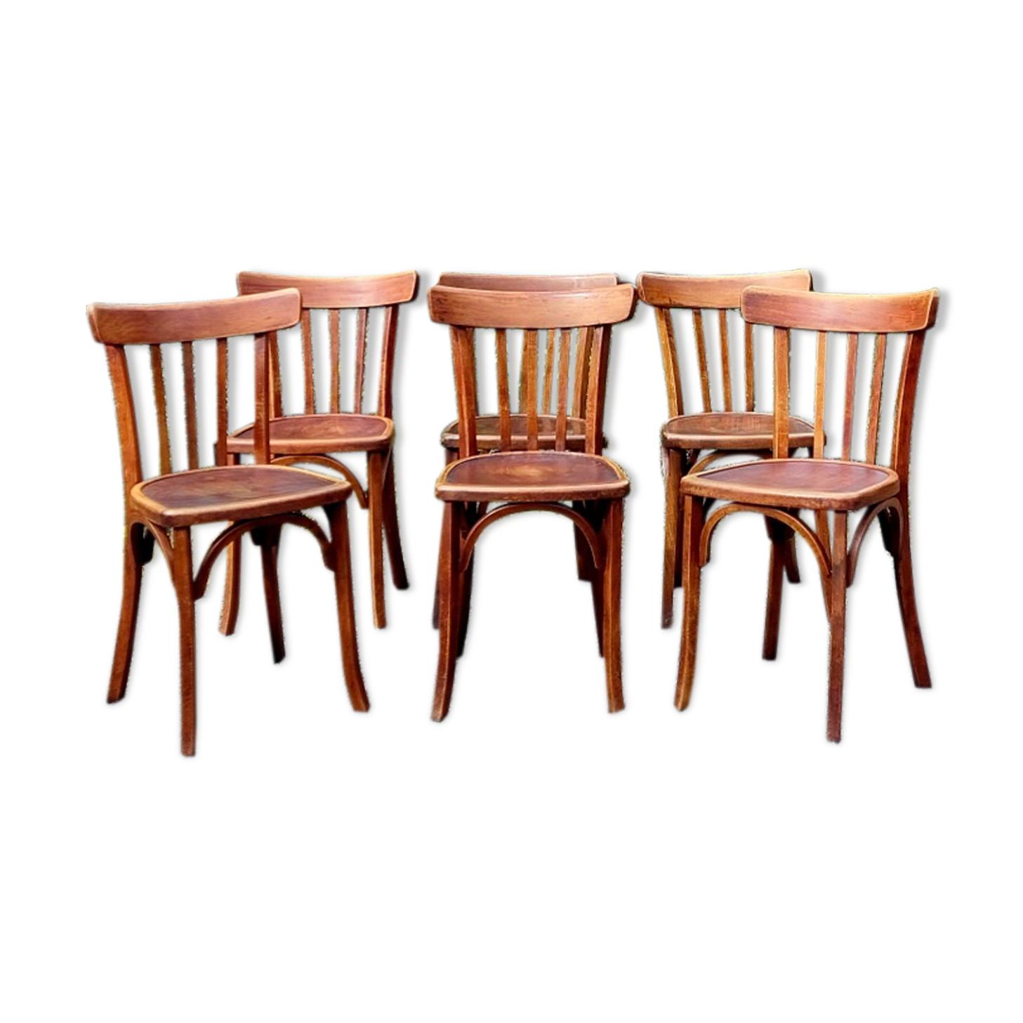 Set 6 chaises bistrot Luterma années 40
