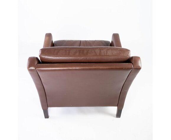 Fauteuil danois cuir marron  60s