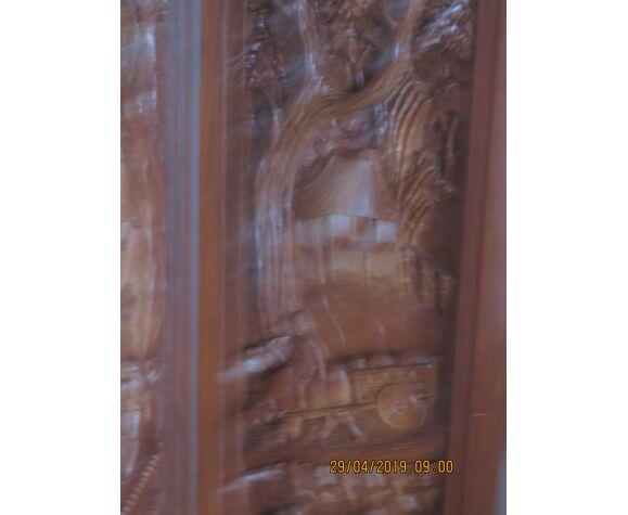 Paravent en bois massif sculpté main