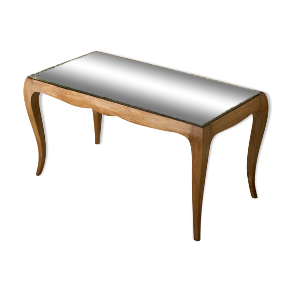 Table basse éstampillée Jules Leleu art deco 1940 bois & miroir