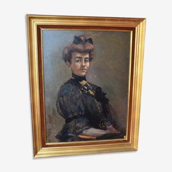 Portrait à l'huile d'une femme signé Joseph-Victor Roux-Champion 1905