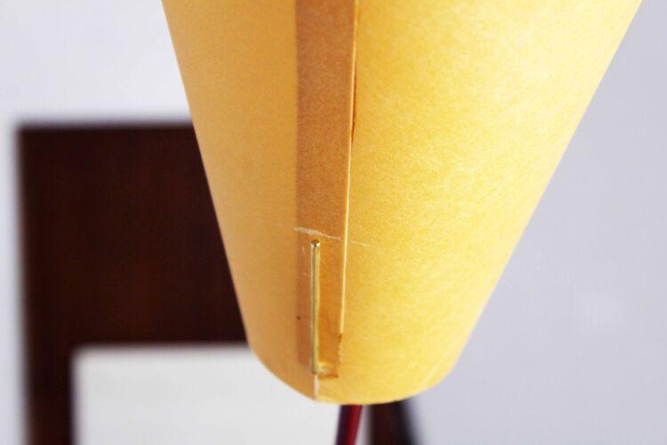 Lampadaire années 70 en carbone et papier