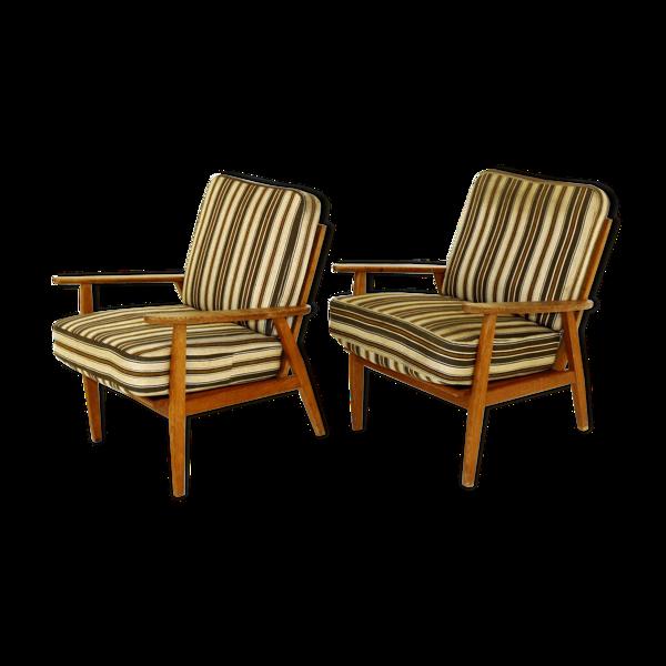 Selency Paire de fauteuils en chêne, Suède, 1950