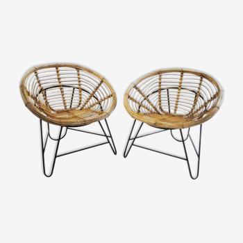 Set de 2 fauteuils en rotin 1950s