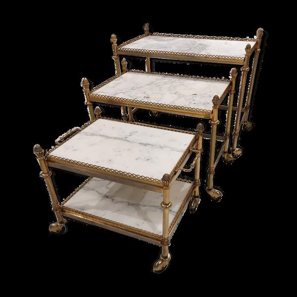 Selency Tables gigognes desserte marbre blanc vintage 1960