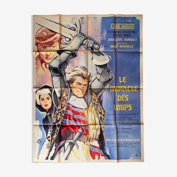 """Affiche cinéma originale """"Le Miracle des Loups"""" Jean Marais 120x160cm 1961"""