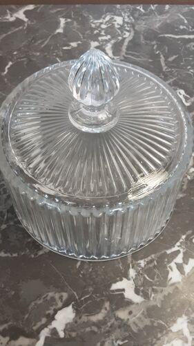 Cloche à gateaux en cristal ancien