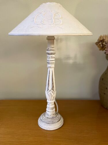 Wooden lamp foot patina white shabby